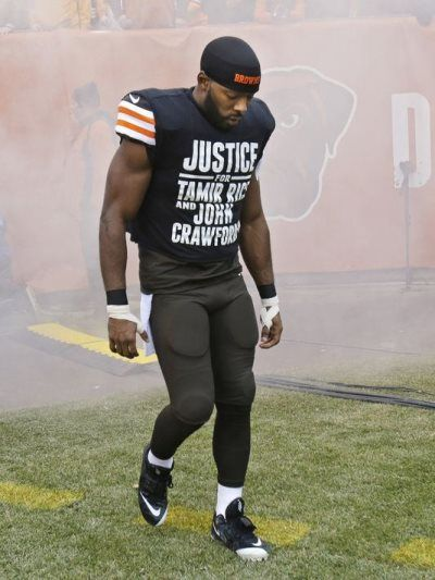 """Before the Cleveland Browns took on the Cincinnati Bengals on Sunday, Andrew Hawkins came out wearing T-shirts that read, """"Justice for Tamir Rice and John Crawford."""" Soon after, the president of the Cleveland Police Union issued a statement, expressing that he feels the Cleveland Police Department is owed an apology for the T-shirts because of all that they do for the Browns."""
