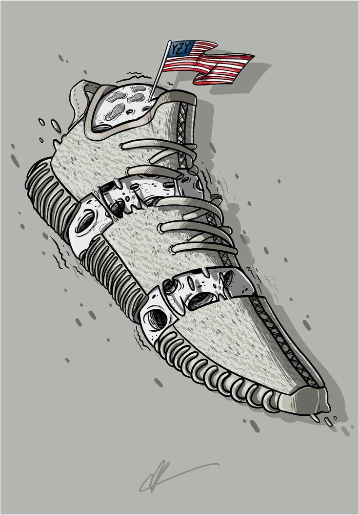 "Sneaker Art Kanye Yeezy 350 ""Moonrock"" Sneaker Art"