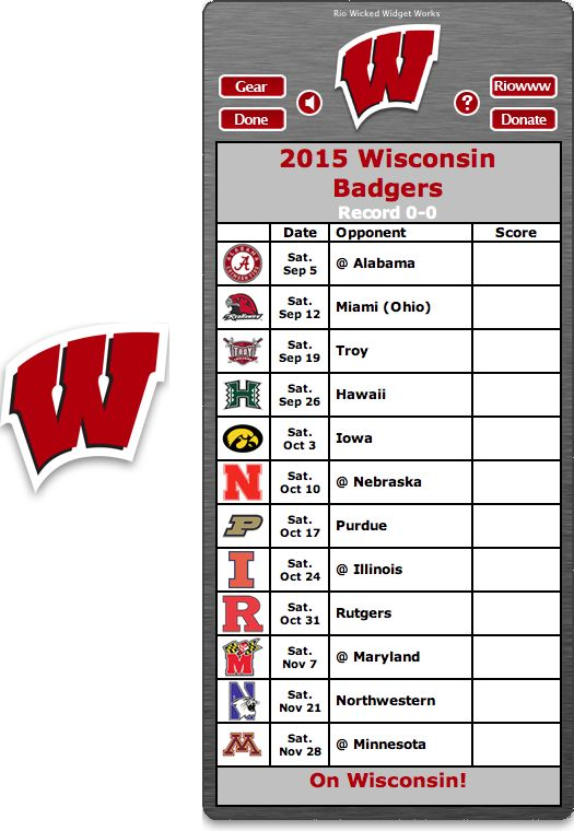 Free 2015 Wisconsin Badgers Football Schedule Widget for Mac OS X - On Wisconsin! http://riowww.com/teamPages/Wisconsin_Badgers.htm