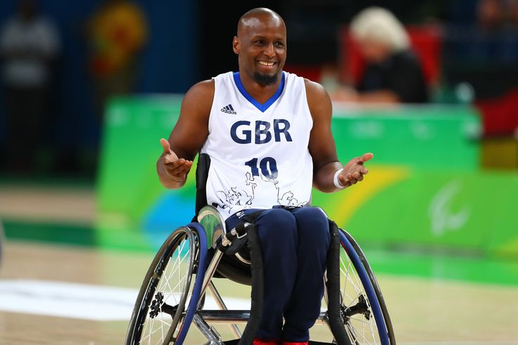 Abdi Jama of Great Britain celebrates after scores two points during Wheelchair basketball match Germany against Great Britain during Rio 2016 Paralympics at Carioca Arena 1 on September 11, 2016 in Rio de Janeiro, Brazil.