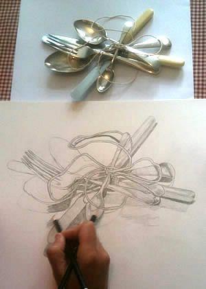 observational drawing of forks