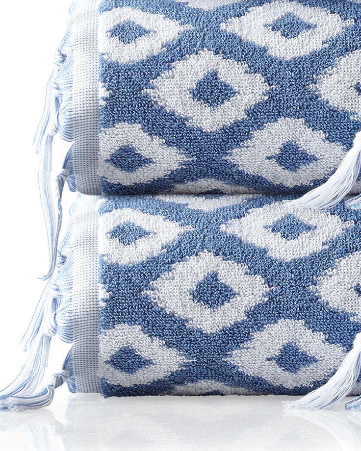Madison Diamond Jacquard Bath Towel, Navy/White   Dena Home · Hand  TowelsLinen ...
