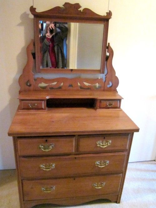 Antique Victorian Pine Dressing Table Chest Of Drawers With Swing