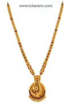 22K Gold '2 in 1' Long Necklace (Temple Jewellery) - GN1621 - Indian Jewelry from Totaram Jewelers