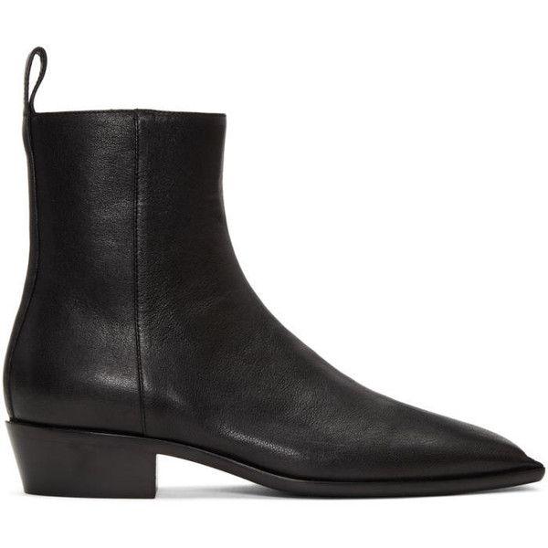 Balenciaga Black Square Toe Boots (€825) ❤ liked on Polyvore featuring men's fashion, men's shoes, men's boots, mens zipper boots, mens black square toe cowboy boots, mens zip boots, mens leather zipper boots and mens black leather shoes