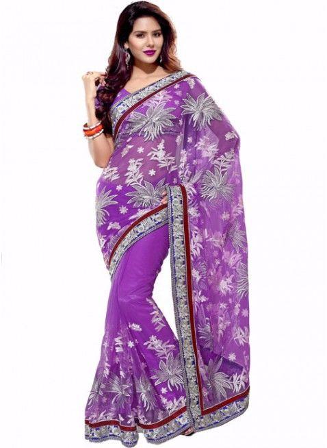 Tantalizing Violet Embroidered Color Net Based Embroidered #Saree
