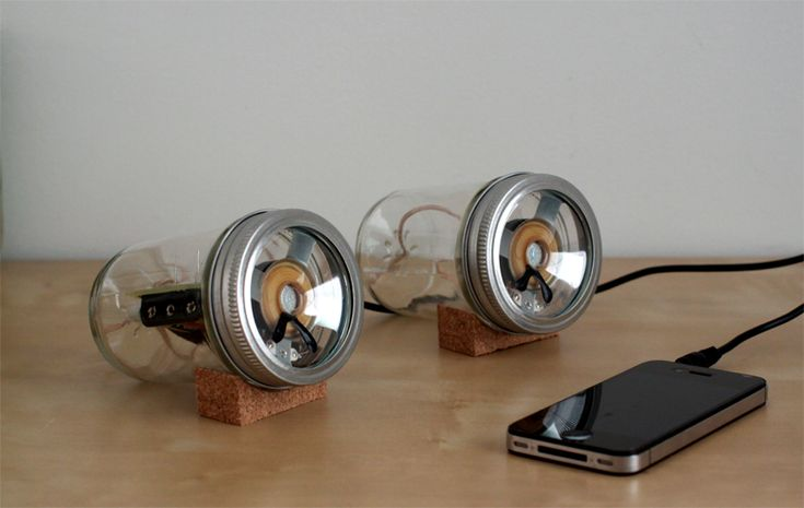 """SARAH PEASE, AUDIOJAR: """"a simple housing for david mellis' open-source fab speakers (http://web.media.mit.edu/~mellis/speakers/). using readily available household items and basic construction methods allow for even further customization"""""""