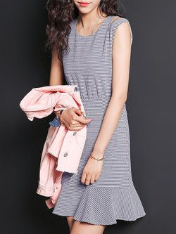 Blue Casual Checkered/Plaid Flounce #Mini #Dress