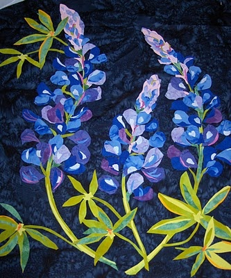 Beautiful Texas Bluebonnets in fabric. A Melinda Bula pattern.