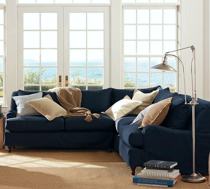 Carlisle Slipcovered 3 Piece L Shaped Sectional With