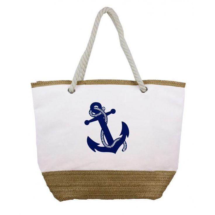 Nautical Theme Beach Tote Bag Canvas &Twine Body Braided Rope Handles NWT #Simi #SummerBeachBag
