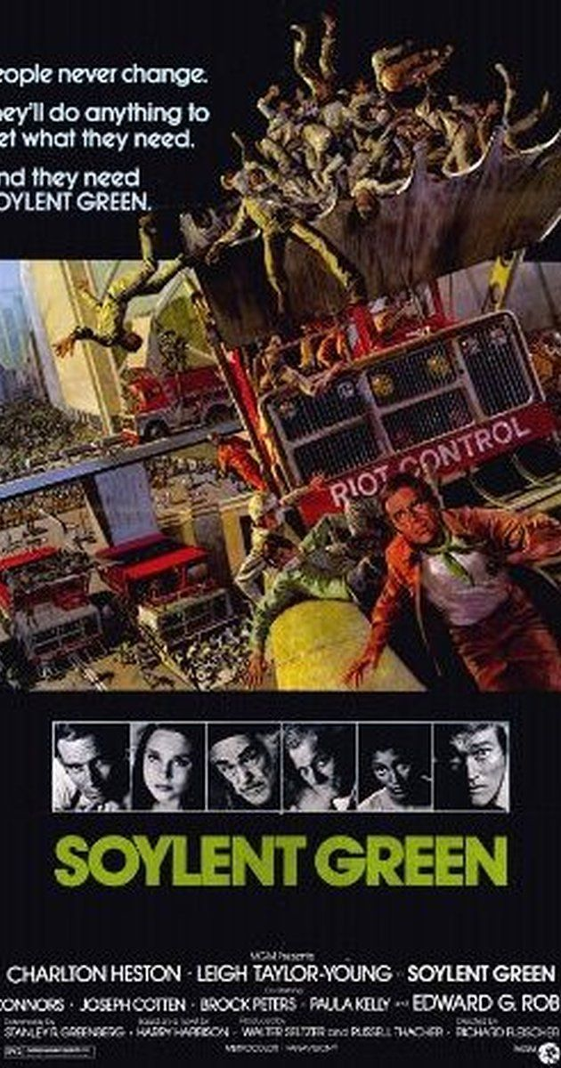 Directed by Richard Fleischer.  With Charlton Heston, Edward G. Robinson, Leigh Taylor-Young, Chuck Connors. With the world ravaged by the greenhouse effect and overpopulation, an NYPD detective investigates the murder of a CEO with ties to the world's main food supply.