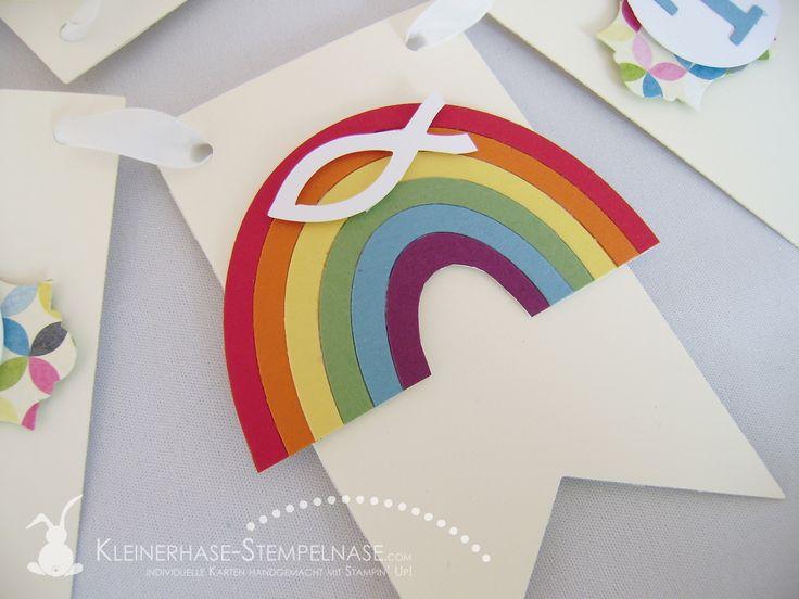 stampin up wimpelkette taufe regenbogen