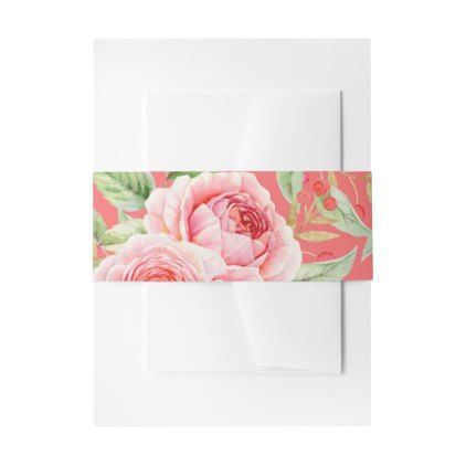 Coral Pink Watercolor Roses Invitation Belly Bands Invitation Belly Band - romantic wedding gifts marriage party idea cyo custom