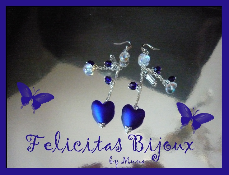 Capri Earrings with pearl heart-shaped cobalt blue of Venice  glass. (Handmade)