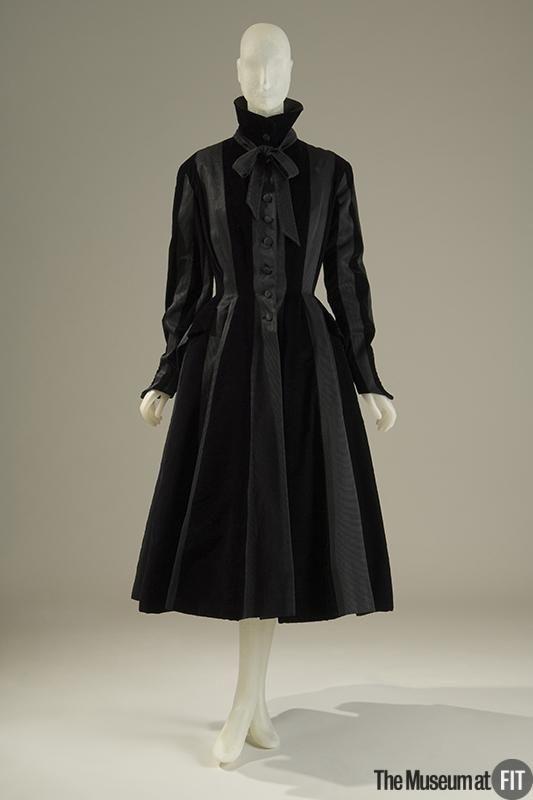 Coat | Designer: Pierre Balmain (French, 1914-1982) | France, circa 1948 | Black velvet and black gors de londres | The Museum at FIT, New York