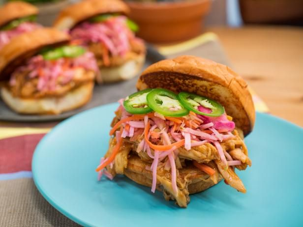 Get Sweet and Sour Pulled Chicken Sandwich Recipe from Food Network