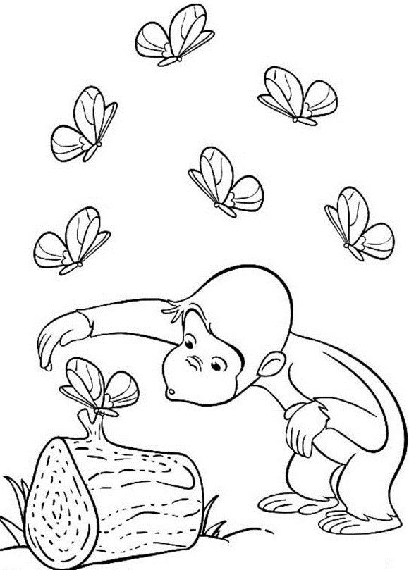 George The Monkey See Butterfly Coloring Pages