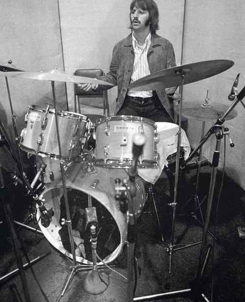 ringo in the studio with his butcher block ludwig five