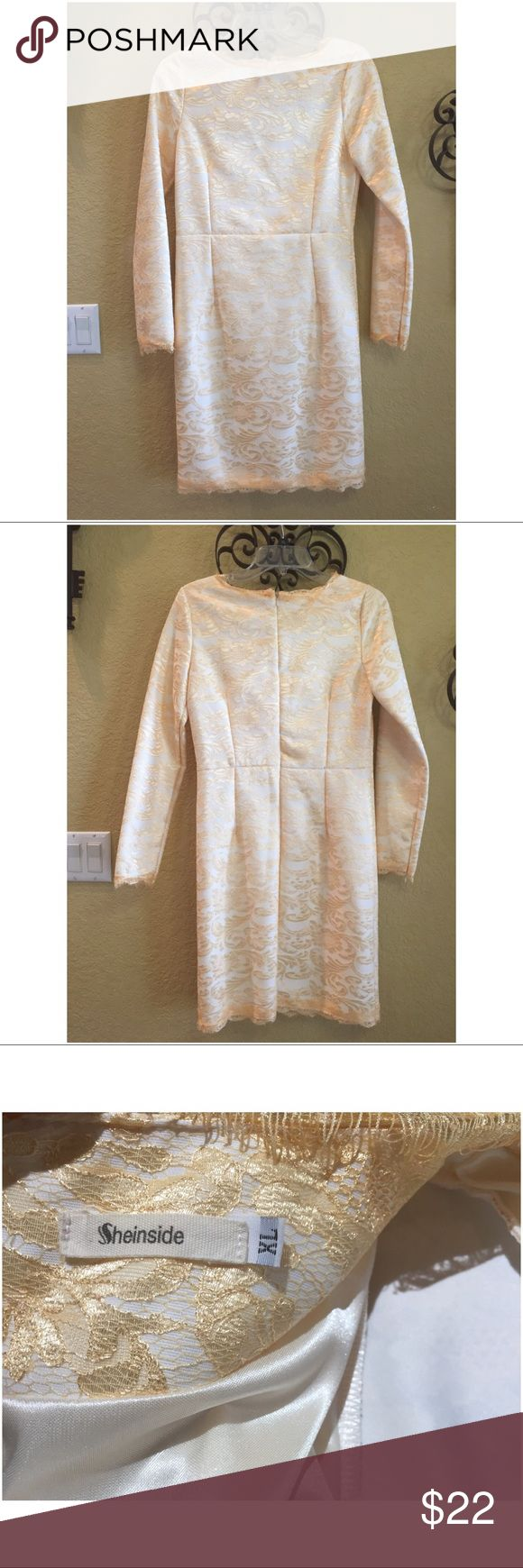 """SheIn Champagne Gold Cream Lace Cocktail Dress SheIn Champagne Cream Lace Cocktail Party Dress. ABSOLUTELY STUNNING! Dress is lined. Has a lace overlay and lace details on trim throughout dress. Pics do NOT do it justice AT ALL! Tagged a size XL but fits closer to a size 4 in my opinion. Under arm to underarm approx 16.""""  Hips approx 17"""". Total length approx 35"""". All measurements were taken lying flat. SheInside Dresses"""