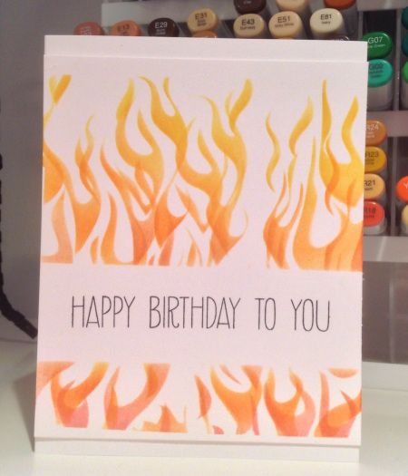 This card is on FIRE! Wendy used distress inks with the Crafter's Workshop fire template to create this awesome masculine card. The sentiment is Avery's Elle's Handwritten Notes - one of our faves.