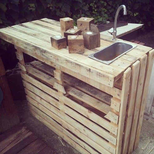 20 ideas para fabricar muebles con palés de madera para la cocina.