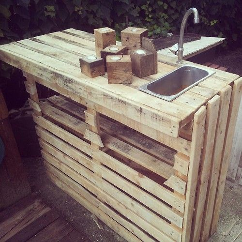 Pallets & Pallet wood. All these are good ideas. Now all I need is fit in a gas range and a plug in oven & I've got an outside kitchen ;)