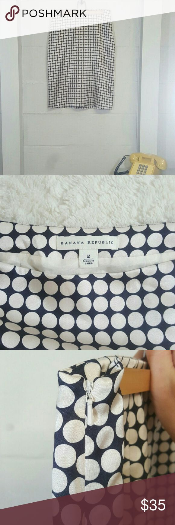 Banana Republic pencil skirt size 2 This is a Banana Republic pencil skirt, off white with navy blue polka dots. Shell is 100% silk. Linning is 100% acetate. Like new condition. Size 2. Measurements included in the photos. Smoke-free pet-free. No rips stains snags or tears. Great for the office. Dress up or dress down. Skirt has a side zipper. Zipper intact. Banana Republic Skirts