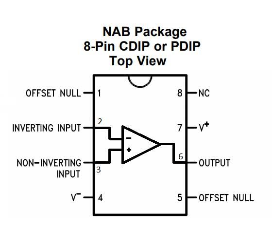pin diagram of op amp ic 741
