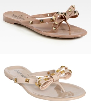 Bright White Jelly Sandals / Flip Flops with diamante Bow F7EqpZ1