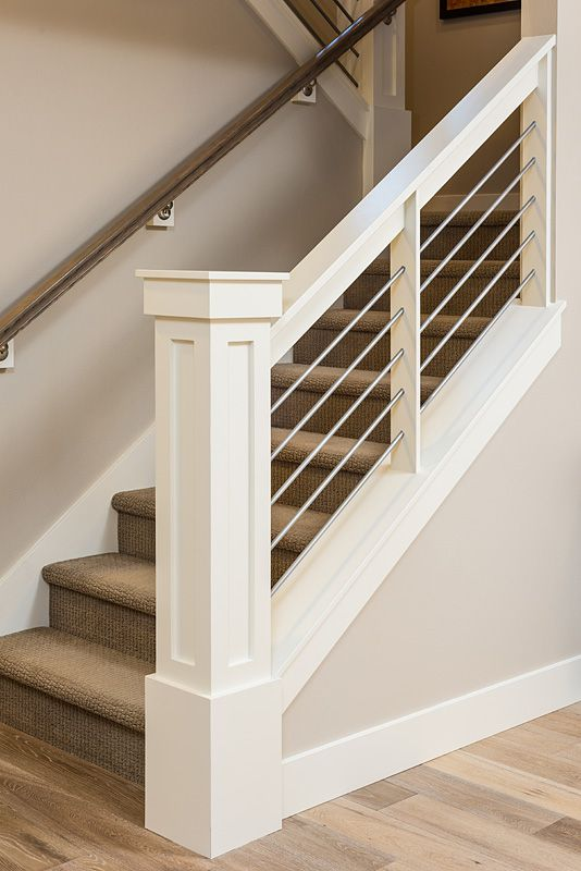 Indoor Railing Ideas #5: Newel Post And Railings. Wires Instead Of Balusters Is Probably Too Modern.