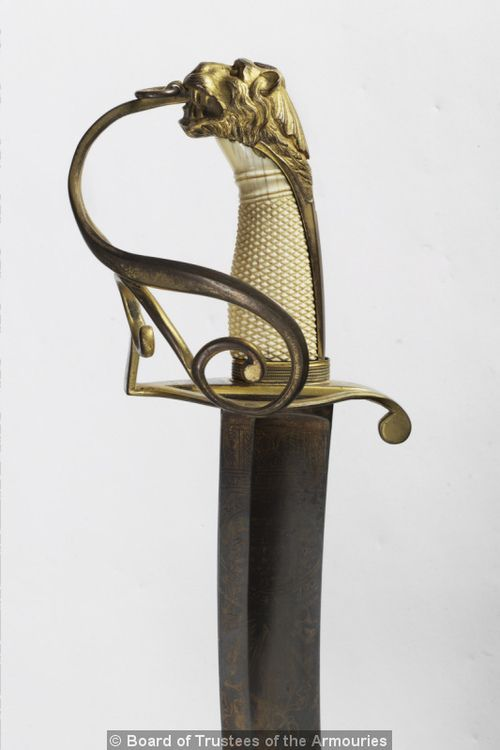 I love the hand protection on this; it is simple, elegant, and effective.  Naval Officer's Sword  England, early 19th century  The Royal Armouries