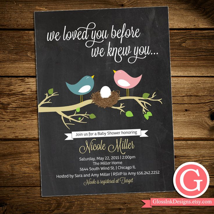 baby shower invitation for twins%0A Baby Shower Invitation  We loved you before we knew you  feather her nest