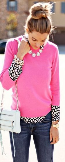 I love polka dots!  throwing a pink 3/4 length sweater with black polka dot button up.  Too cute...