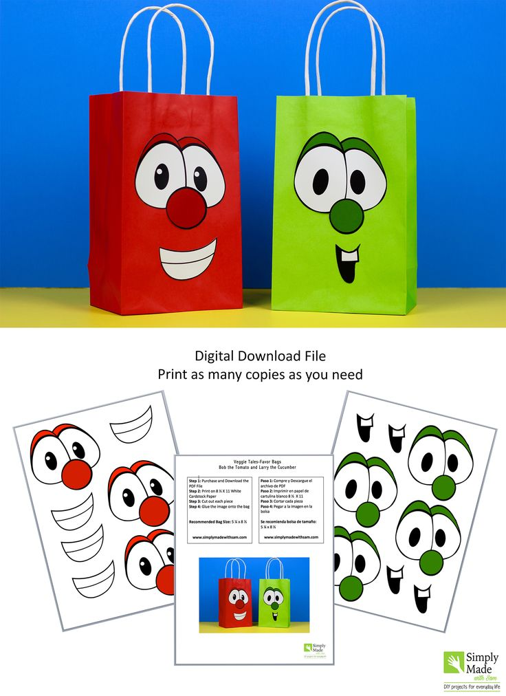 DIY Veggie Tales Favor Bags of Bob and Larry. Simply Download, Print, Cut and Paste.  Does not include the favor bags.