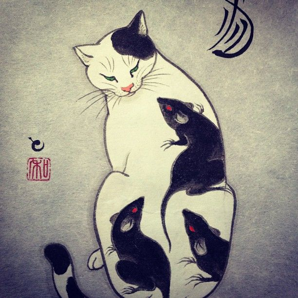 I don't know if this is woodblock or not, but I like it.  Painting of a tattooed cat - @horitomo_stateofgrace
