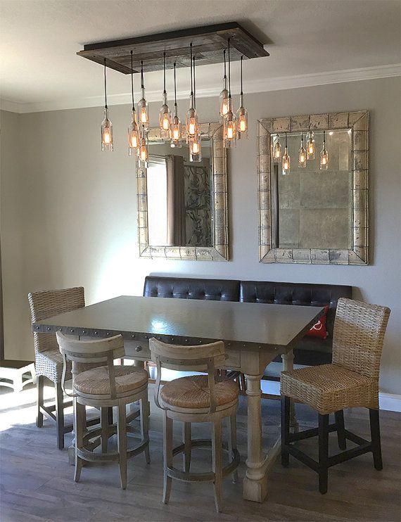 Oversized Reclaimed Wood Wine Bottle Chandelier Dining Room