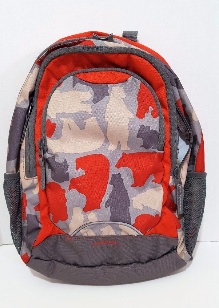 Lands' End Kids Backpack Orange Brown Tan Bears Padded Adjustable Straps #LandsEnd #Backpack