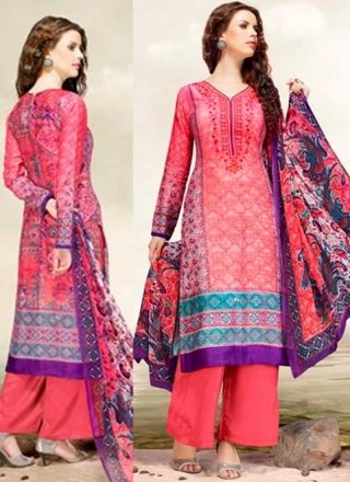 Hot Pink Embroidery Work Glaze Satin Designer Printed Pakistani Palazzo Suit         #Anarkali #Churidar #Pakistani #Suit #Salwar #Bollywood       http://www.angelnx.com/Salwar-Kameez