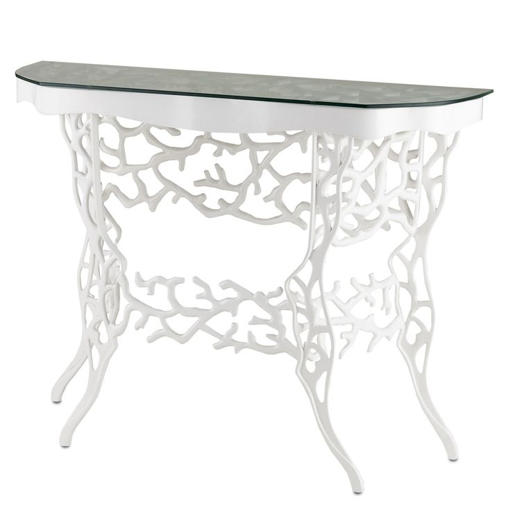 White Coral Console Table