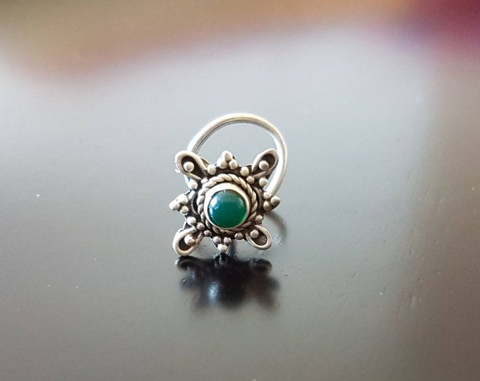 Green Onyx Nose Pin,Nose Pin, Nose Ring,Silver Nose Ring,Indian Nose Ring,Gypsy Nose Stud,Nose Piercing,Boho Nose Jewelry