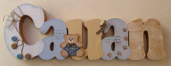 Nome+decorado+em+MDF+e+Scrap+personalizado+para+decoração+de+quarto,+porta+maternidade,+festas...+Tema+e+cores+a+sua+escolha R$ 74,36