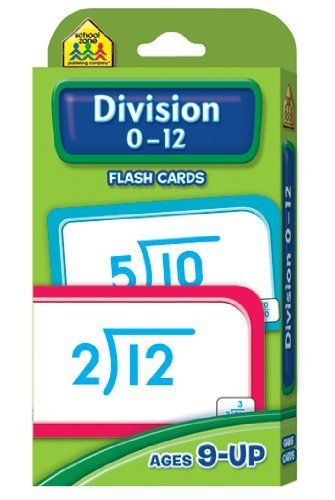 20 Pack SCHOOL ZONE PUBLISHING DIVISION 0-12 FLASH CARDS by SCHOOL ZONE PUBLISHING. $64.20. Is your child a math warrior? Getting unstuck is half the battle, and these flash cards will help your child learn to divide by lower numbers, and in the process, conquer their next timed test at school. To help your child get there, see the parent card for information covering the 5 Division Steps, answer checking, division terms and division equations, plus helpful hin...
