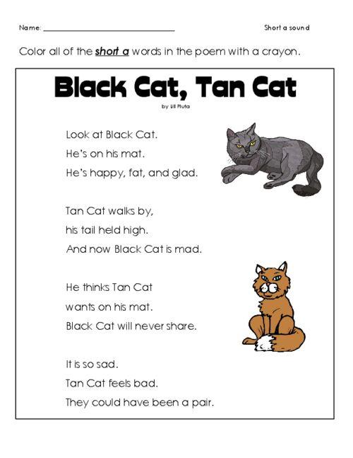 short 39 a 39 cat poem reading comprehension worksheets reading comprehension worksheets first. Black Bedroom Furniture Sets. Home Design Ideas