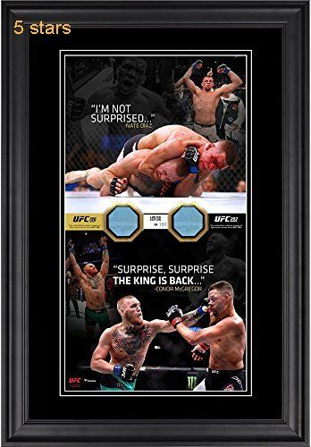 Nate Diaz & Conor McGregor Ultimate Fighting Championship Framed 10 x 18 Vertical Photo Collage with Pieces of Match-Used Canvas from UFC 196 and UFC 202  Limited Edition of 199  Fanatics Authentic Certified