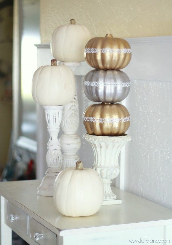Classy pumpkin topiary from dollar store pumpkins! via lollyjane.com