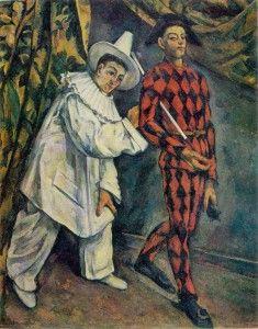 PAUL CÉZANNE.  1839-1906. Ecole française. Mardi gras (Pierrot et Arlequin). 1888 Huile sur toile. 102×81 cm.