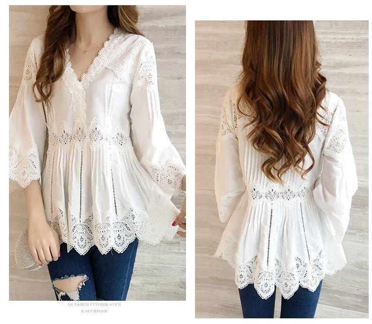 2017 кружевная блузка рубашка женщин v образным вырезом 3/4 рукав пикантные повседневные БЕЛЫЕ РУБАШКИ леди рубашка Camisas Femininas Y872 купить на AliExpress
