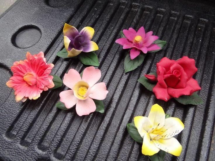 Capodimonte Ceramic Flowers, 6 ALL ONE MONEY, Made in Italy