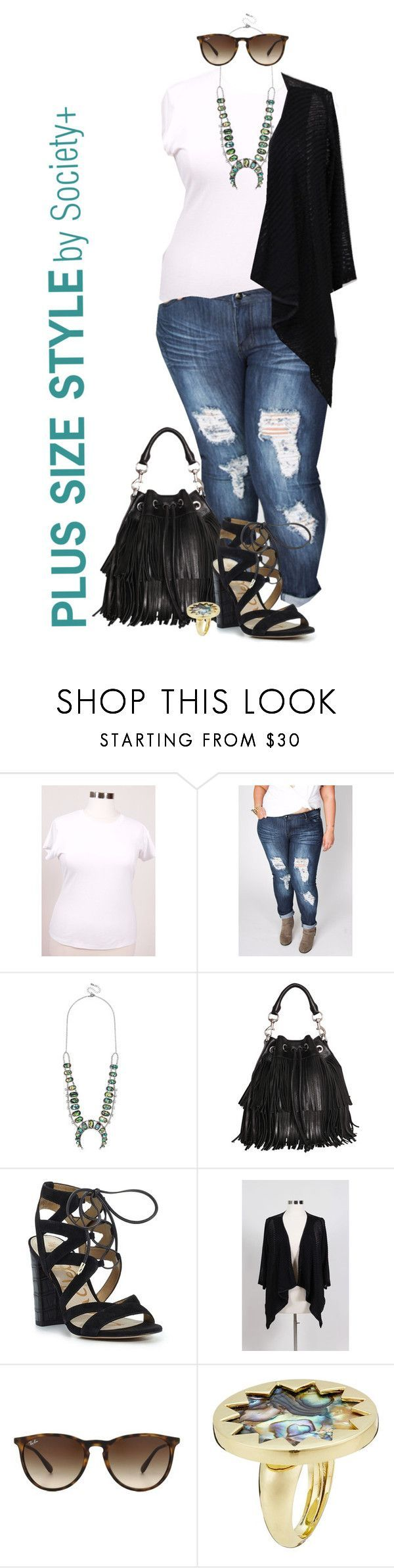 """""""Plus Size Sheer Cardigan - Society+"""" by iamsocietyplus on Polyvore featuring BaubleBar, Rebecca Minkoff, Sam Edelman, Ray-Ban, House of Harlow 1960, plussize, plussizefashion, societyplus and iamsocietyplus"""